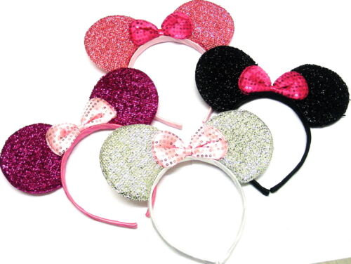Gorgeous Sparkly Set Of Four Mouse Ear Alice Bands Fancy Dress Head Band