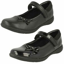 57e1b8c341f4 GIRLS CLARKS HOOK   LOOP MARY JANE LEATHER PATENT SCHOOL SHOES VENTURE STAR  SIZE