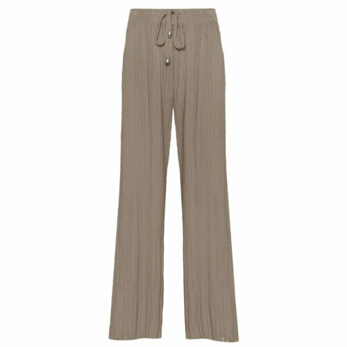LADIES WOMENS PLEATED ELASTICATED WAIST PANTS CREPE BAGGY WIDE PALAZZO TROUSERS
