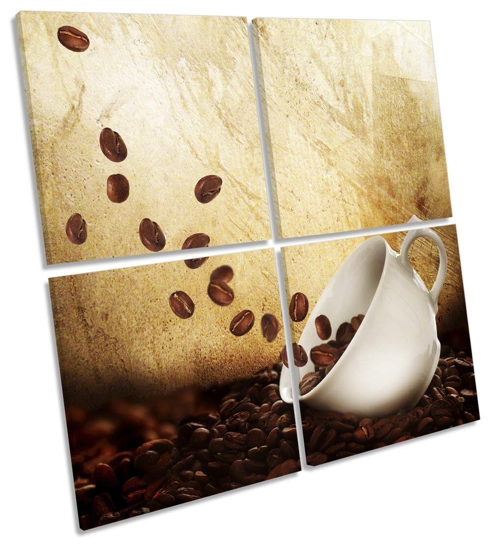 Granos De Taza Café Taza De Marrón Lona Pared Arte Cuadrado de múltiples imágenes 30fae2