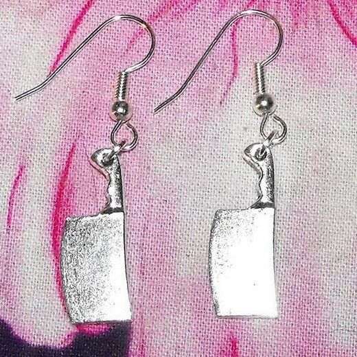 Funky Meat Cleaver Knife Psycho Earrings Goth Emo Halloween Quirky Knifes Kitsch