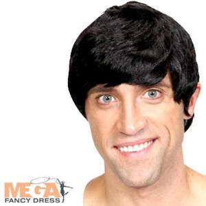 Short Black 60s Wig Mens Fancy Dress Celebrity Band Adult Costume