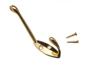 Einzel-Hut-Und-Kleiderhaken-Vermessingt-amp-Schrauben-Packung-Mit-2