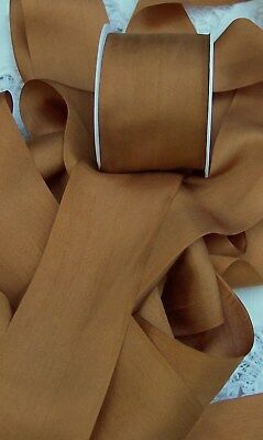 """100/% PURE SILK  RIBBON ~RUCHED~  1 1//2 /"""" WIde  ~ BLUSH//BISQUE ~ COLOR"""