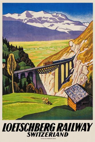 Vintage Swiss Travel Poster Löteschberg Railway 1930s Rhone Alps Mountains Retro