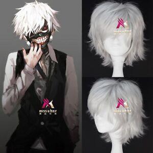 Tokyo Ghoul Kaneki Ken Wig Short Straight Silvery Grey Color Anime