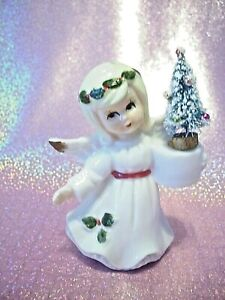 SUPER-RARE-VTG-1-Napco-Lefton-Christmas-Holly-Angel-Girl-Holds-Tree-amp-Candle