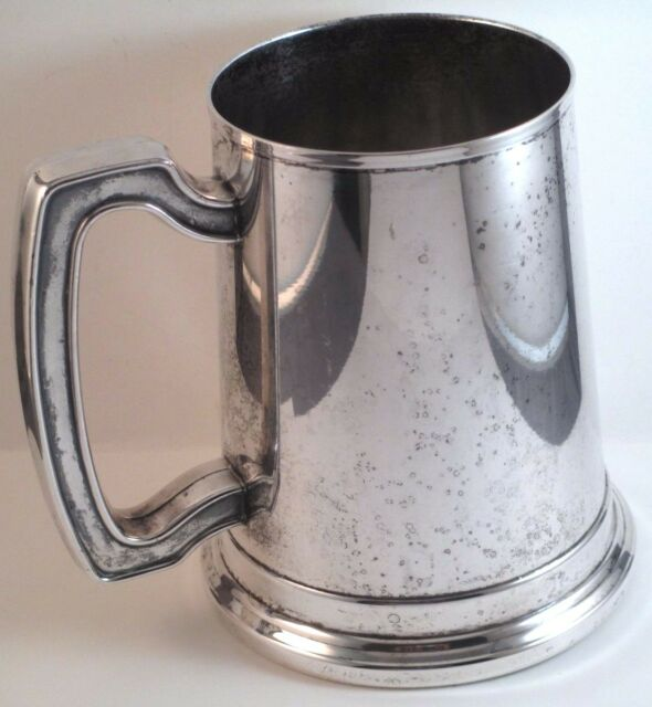 """Oneida Silverplate Pint Tankard Stein Mug Bar Glass Bottom 5"""""""