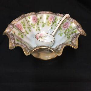 Antique-1910s-Morimura-Bros-Ruffled-Bowl-Ladle-Mismatched-Set-Noritake-Nippon