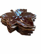 Vintage Pottery Barn Plate Lot 4 Dark Brown Maple Leaf Salad Appetizer Retired For Sale Online Ebay