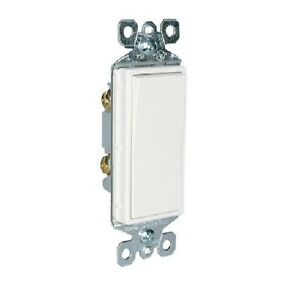 P & S TM870-W 15 Amp 125 Volt Single Pole Decorator Switch, White