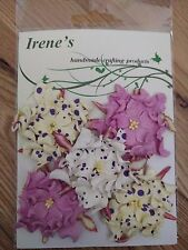 5 x purple mix spots gardenia mulberry paper flowers-card making/scrapbooking