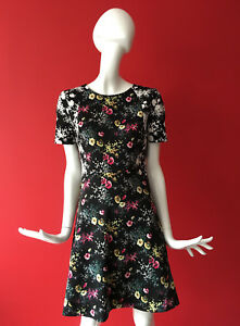 OASIS-Black-Ditsy-Floral-Print-Tea-Skater-Short-Dress-Stretchy-UK-Size-S-fits-8