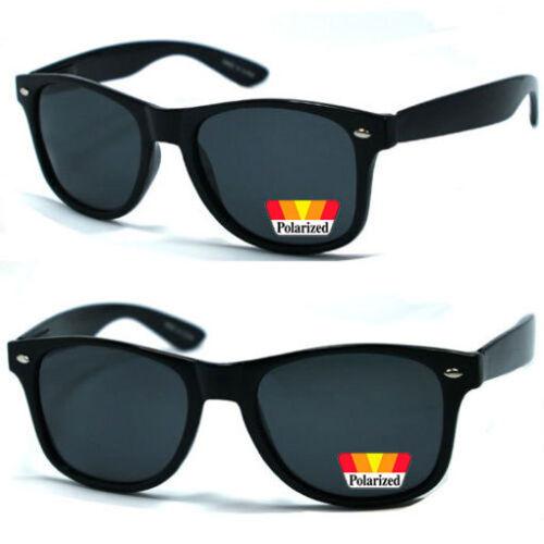 Retro Classic Square Frame Polarized Lens Sunglasses Black WF 08