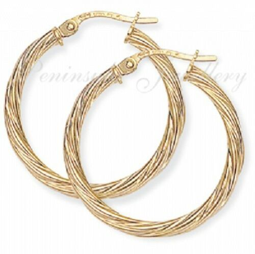 9ct Gold 24mm Twisted Hoop Creole earrings Gift Boxed Birthday Gift