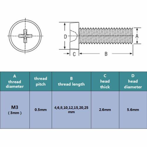 25//100pcs Acrylic Clear Plastic M3 Round Phillips Cross Pan Head Screw Bolt Nut
