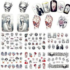 Nail-Art-Stickers-Decals-Transfers-Gothic-Skulls-Halloween-Collection