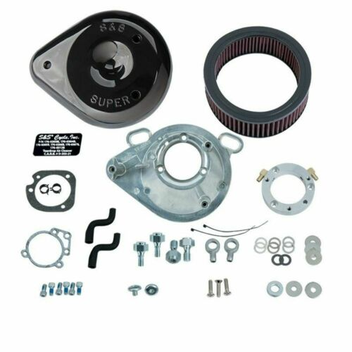 S/&S Cycle Black Tear Drop Cover Air Cleaner Filter Kit Harley 99-2017 Big Twin