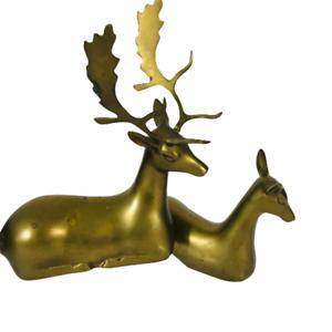Vintage-Solid-Brass-Reindeer-Deer-Figurines-Buck-Doe-Pair-Sculpture-Patina