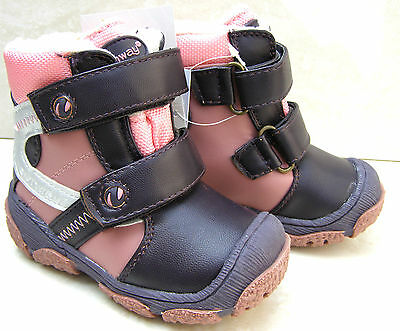 GIRLS PINK PURPLE BABY BOOTS WINTER SNOW WARM FURRY TOE CAP SHOES SIZES UK 7 8 9