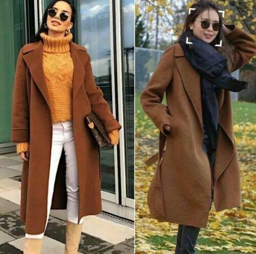 Zara CAMEL LANA CAPPOTTO CINTURA Handmade Wool Belted Coat pockets size S M L XL