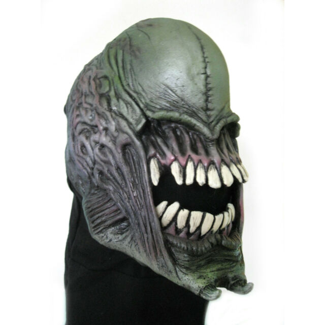 Alien Monster Xenomorph Moving Mouth Cosplay Adult Latex Halloween Mask  sc 1 st  eBay : alien head costume  - Germanpascual.Com