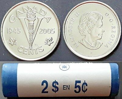 From a new roll VE Day 5-cents BU 2005-p RCM