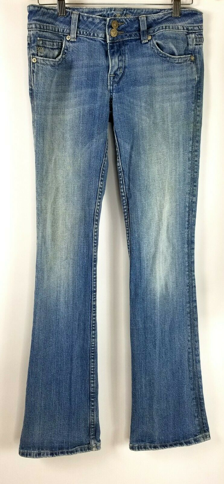 Miss Me Womens Jeans bluee Straight Leg Light Wash Zip Front Size 28
