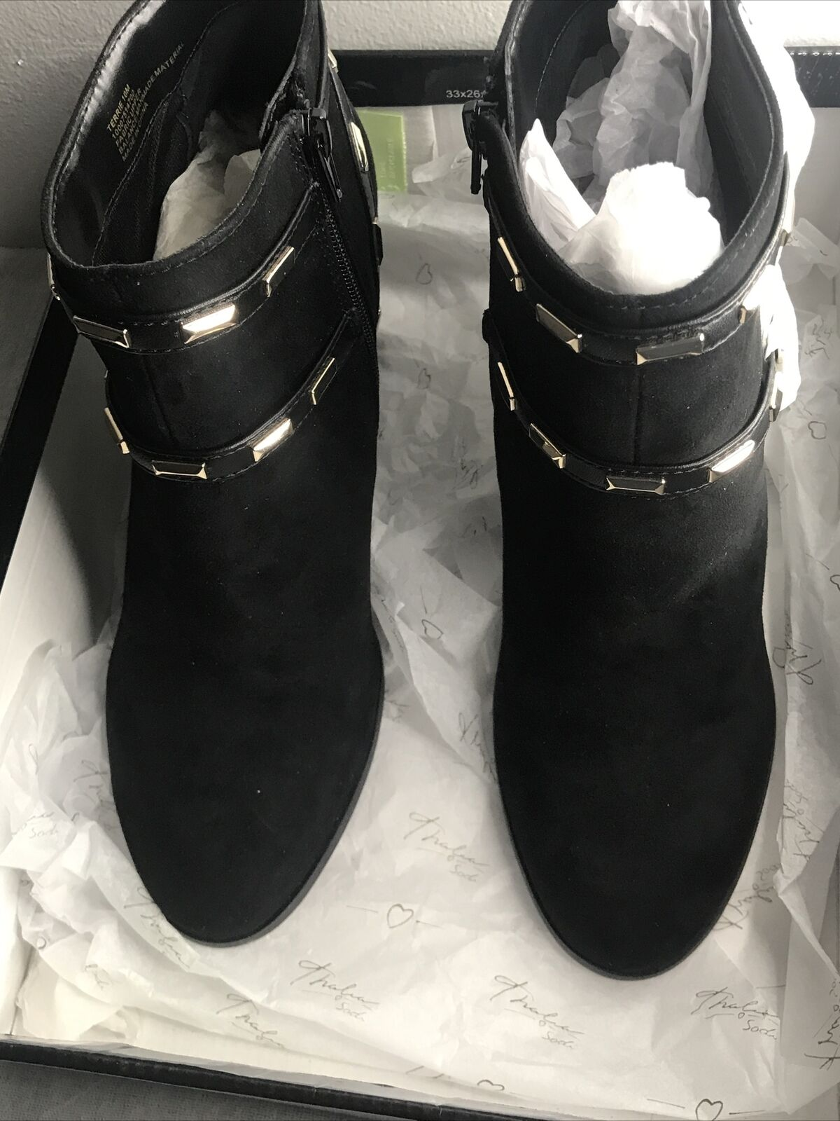 Thalia Sodi Womens Terrie Studded Strappy BLACK Heel Boots Shoes size 10M