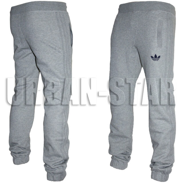 Mens Adidas Originals SPO Fleece Trefoil Tracksuit Pants Bottoms GreyBlack S XL