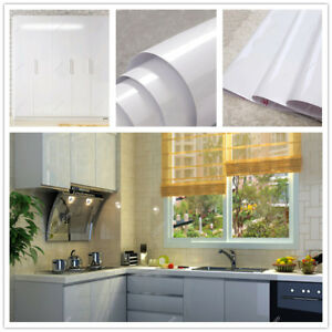 Gloss White Vinyl Contact Paper Self Adhesive Wallpaper Kitchen