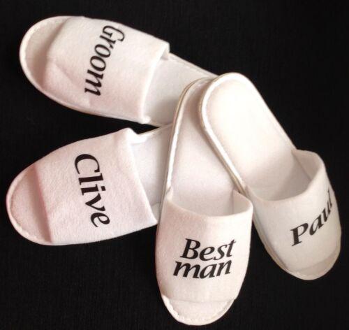 LARGE Mens size Groom Usher Best man Mr Mrs personalised slippers wedding day.