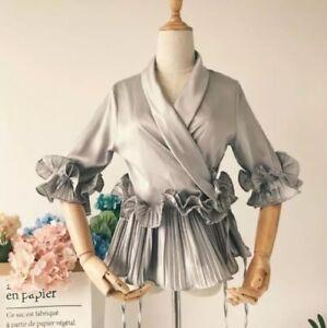 UK-New-Women-Ladies-Summer-Grey-Short-Sleeve-Satin-leated-Ruffle-Hem-Top-Blouse