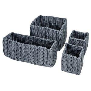 IKEA-NORDRANA-4er-Set-Korb-Koerbe-in-grau-Kleinaufbewahrung-Aufbewahrungskorb