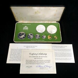1976 National Coinage of Guyana Sterling Silver Proof Coins Set