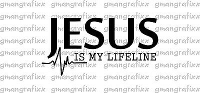 Jesus Is My Lifeline Decal Sticker Christian God Faith Car Window 10 Colors