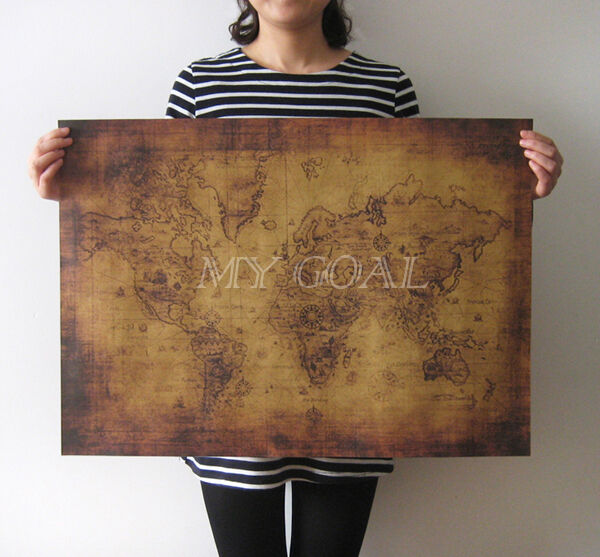 Large Vintage Style Retro Paper Poster Globe Old World Map Decor Gifts 71x51cm