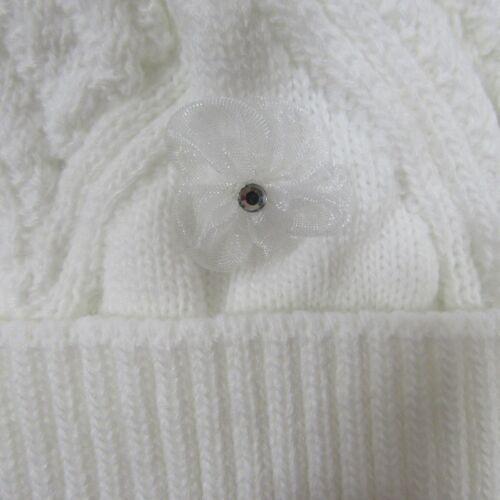 Baby Babies Girls Knitted Winter Bobble Hat Pom Pom Flower White Knit Lined 311