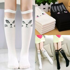 5138acc86f0 Kids  Girls  Soft Cartoon Cat Sweet Princess Knee High School Socks ...