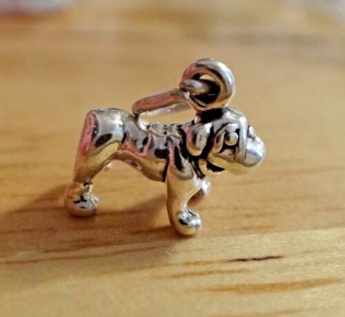 Argent Sterling Tiny 9x10mm solide plus nez Carlin Bulldog Dog Charm
