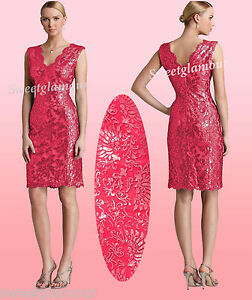 $328 Tadashi Shoji Sequined Embroidered Lace Deep Rose Red V-Neck ...