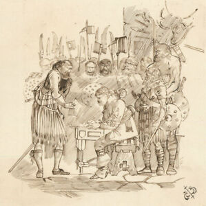 Charles William Cole - Late 19th Century Pen and Ink Drawing, Soldiers
