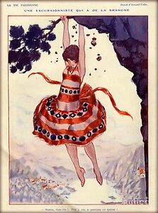 1920s La Vie Parisienne Une Excursionniste France Travel Advertisement Poster