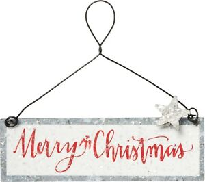 """Red /""""Merry Christmas/"""" Tin//Metal Ornament//Sign//Plaque~Primitive//Country//Vintage"""