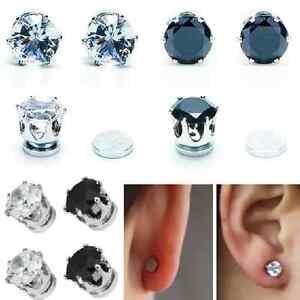 1-Paar-Magnetische-Ohrringe-Strass-Magnet-Ohrstecker-Ohrschmuck-6-mm-klar-schwa