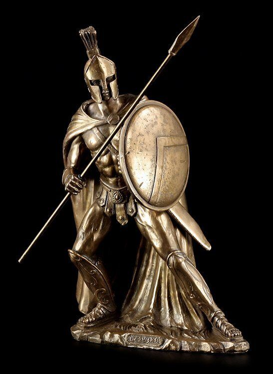 Leonidas I.Figurine with Spear and Sign Decorative Warrior King Sparta