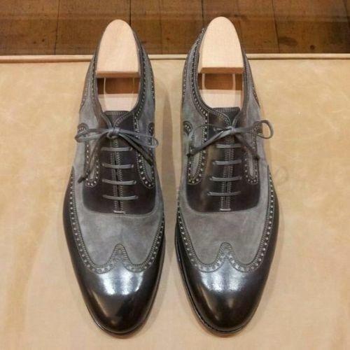 Zapatos De Cuero New-Handmade Hombre Negro y gris Zapatos, vestido Formal Oxford De Gamuza &