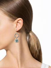 Charriol 18kt. YG Blue Topaz/Diamonds Celtic Cable Classique Hoop Drop Earrings