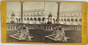 Stéréo, Italie, Naples, cloître Martino Vintage stereo card,  Tirage albuminé