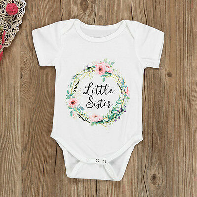Kids Baby Girls Short Sleeve Floral Sister T-shirt Tops Newborn Summer Blouse